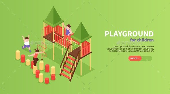 Isometric Playground Horizontal Banner - Miscellaneous Vectors