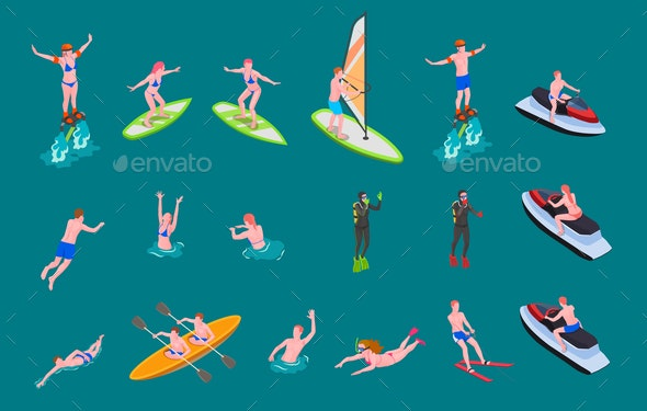 Isometric Colored Water Sports Icon Set - Sports/Activity Conceptual