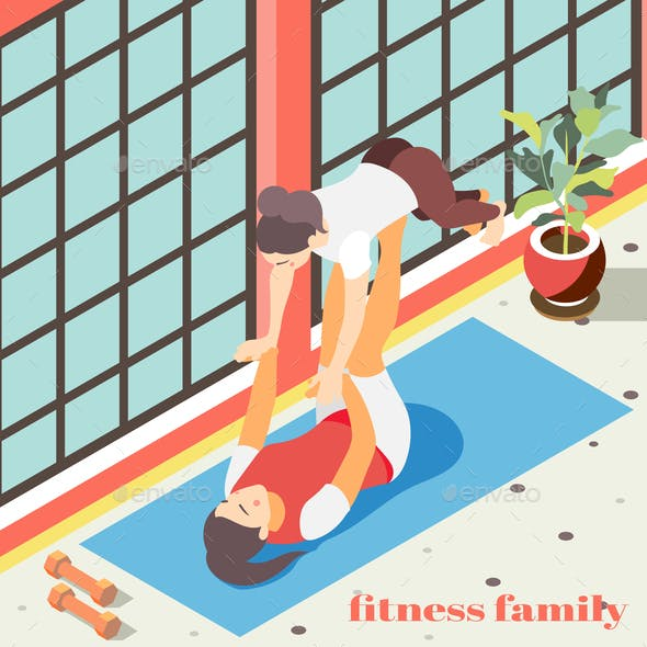 Fitness In Gym Isometric Background