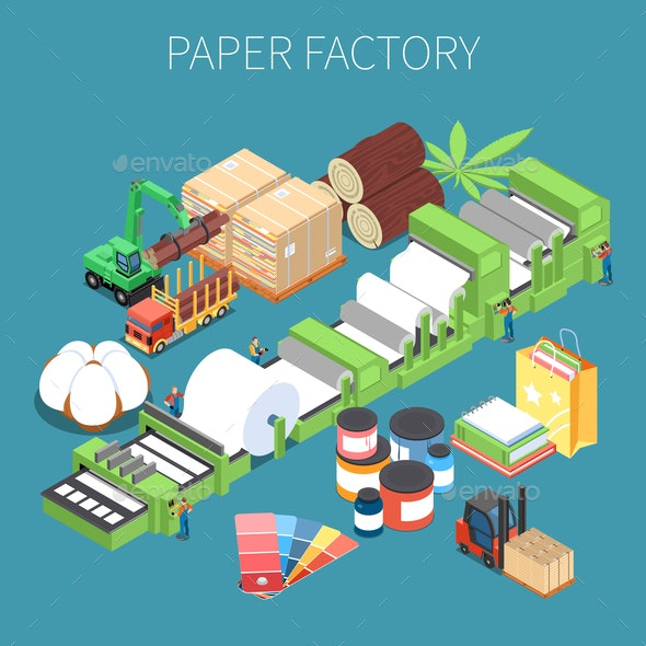 Paper Factory Isometric Background - Miscellaneous Vectors