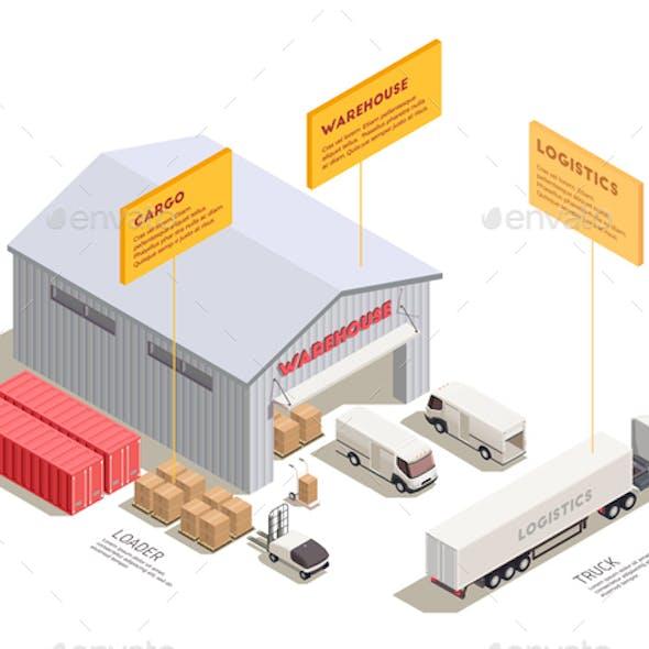 Trucks Isometric Composition