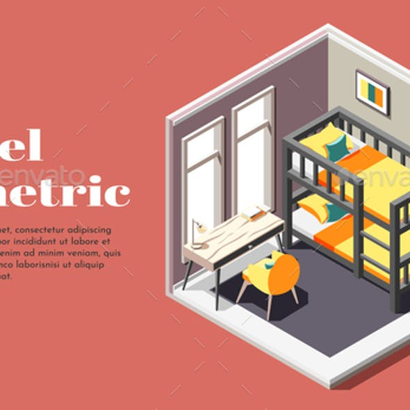 Hostel Room Isometric Poster