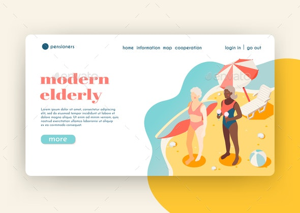 Modern Elderly People Isometric Landing Page - Miscellaneous Vectors