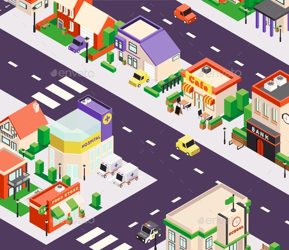 Urban Buildings Isometric Composition - Buildings Objects