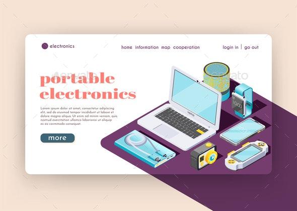 Portable Electronics Isometric Landing Page - Computers Technology