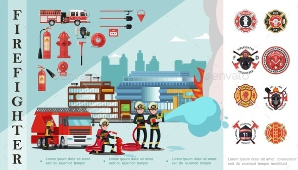 Flat Firefighting Composition - Miscellaneous Vectors