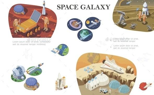 Isometric Space Exploration Composition - Miscellaneous Vectors