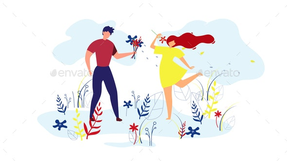 Couple Walking on Lawn Man Giving Flowers to Girl. - Seasons/Holidays Conceptual