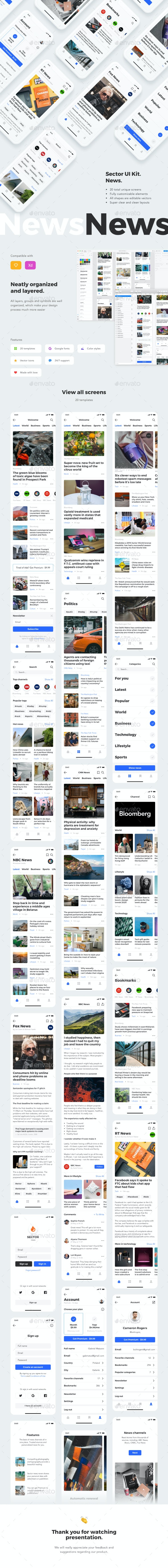 Sector UI Kit. News - User Interfaces Web Elements