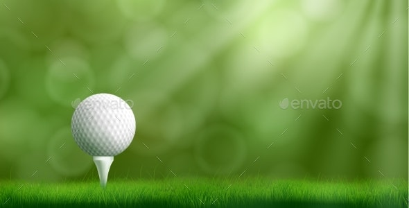 Golf Ball On Tee Realistic Vector Background By Vectorpocket Graphicriver