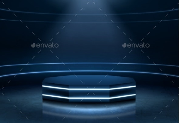Illuminated Fashion Show Podium Realistic Vector - Technology Conceptual