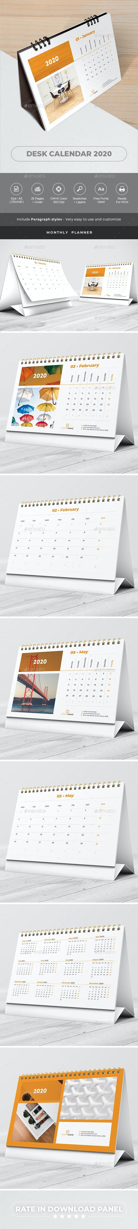 Desk Calendar 2020 Planner - Calendars Stationery