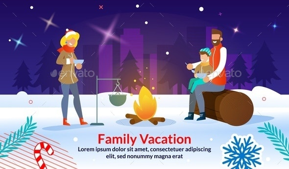Christmas Outdoor Family Party Advertising Poster - People Characters