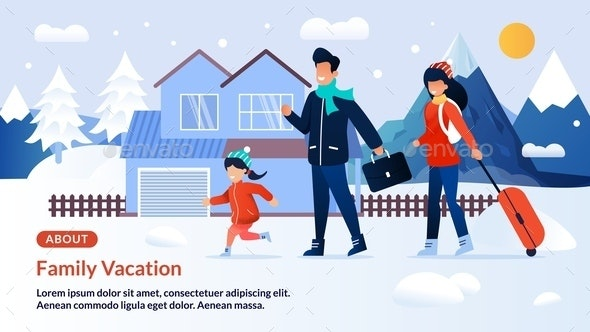 Webpage Banner Inviting on Family Winter Vacation - Sports/Activity Conceptual