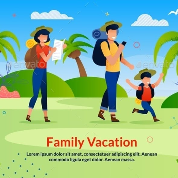 Family Vacation Scouting Advertising Flat Poster