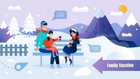 Poster with Family Resting on Bench in Winter Park - People Characters