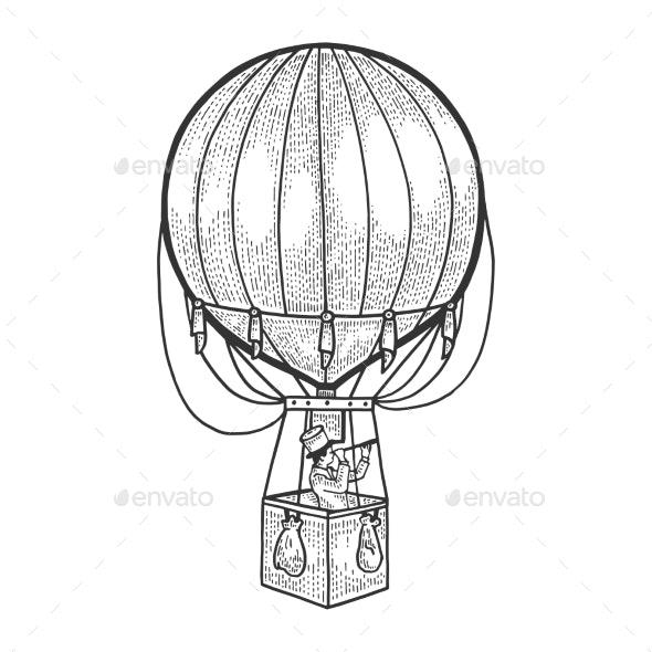 Vintage Air Balloon Sketch Engraving Vector - People Characters