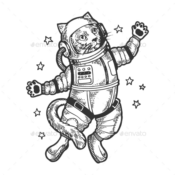 Cartoon Cat Astronaut Sketch Engraving Vector