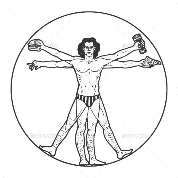 Party Vitruvian Man Sketch Engraving Vector - People Characters