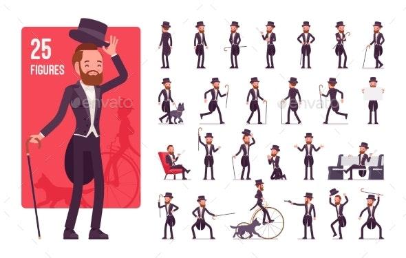Gentleman in Black Tuxedo Jacket Character Set - People Characters