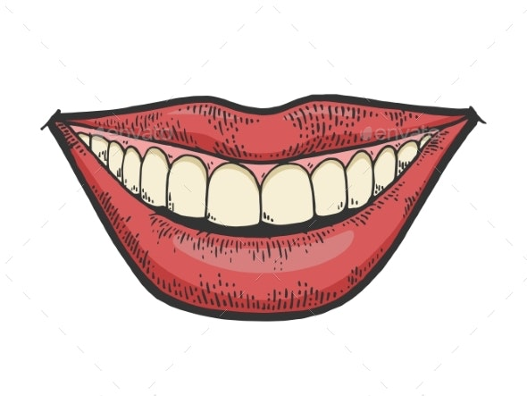 Female Smile Mouth Color Sketch Engraving Vector - People Characters