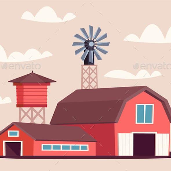 Farmyard Buildings Flat Vector Illustration