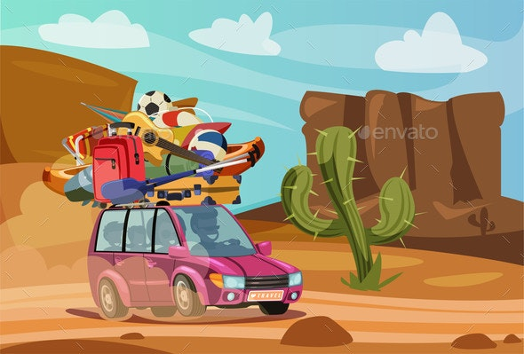 Summer Vacation Journey Flat Vector Illustration - Man-made Objects Objects