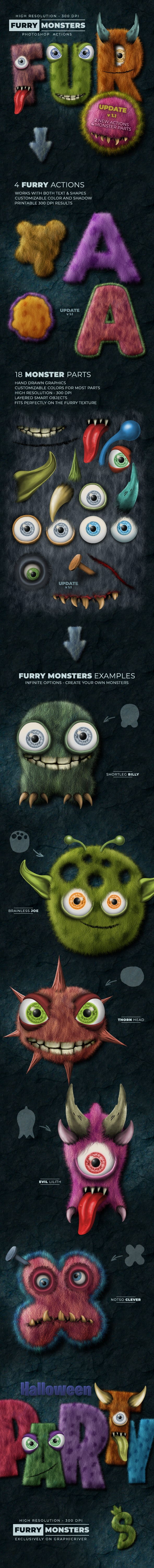 Furry Monster Actions - 300 DPI - Text Effects Actions