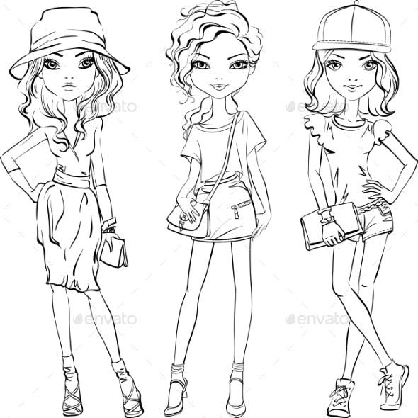 Vector Set of Fashionable Girls