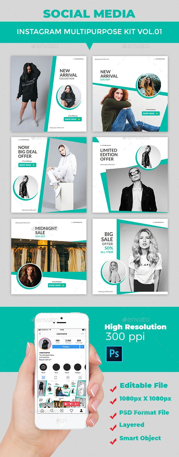 Instagram Post Multipurpose Kit Vol.01 - Social Media Web Elements
