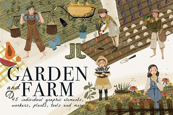 Garden & Farm Clip Art 45 Individual Graphic Elements - Nature Backgrounds