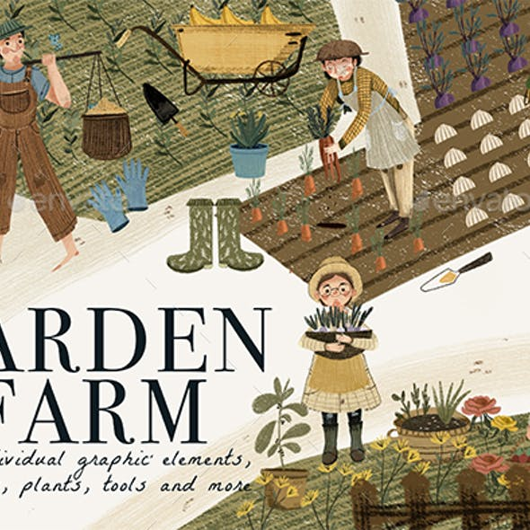 Garden & Farm Clip Art 45 Individual Graphic Elements