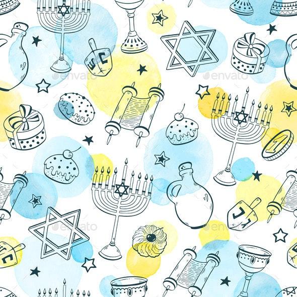 Hanukkah Seamless Pattern Vector - Religion Conceptual