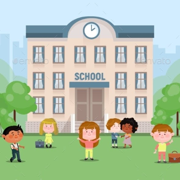 School Children in the Yard in Front of the School