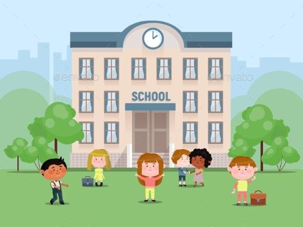 School Children in the Yard in Front of the School - Miscellaneous Vectors