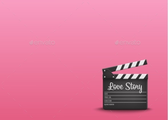 Clapperboard with Text Love Story on Pink - Backgrounds Decorative