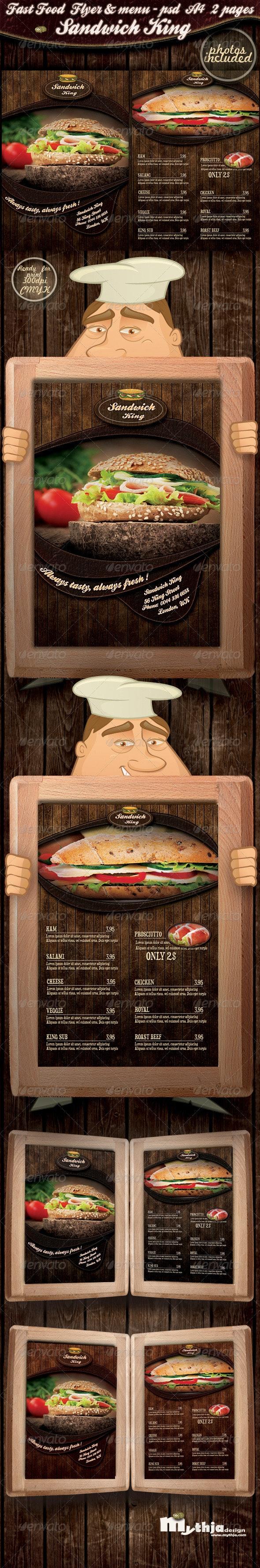 Fast food flyer & menu - Sandwich king - Print Templates