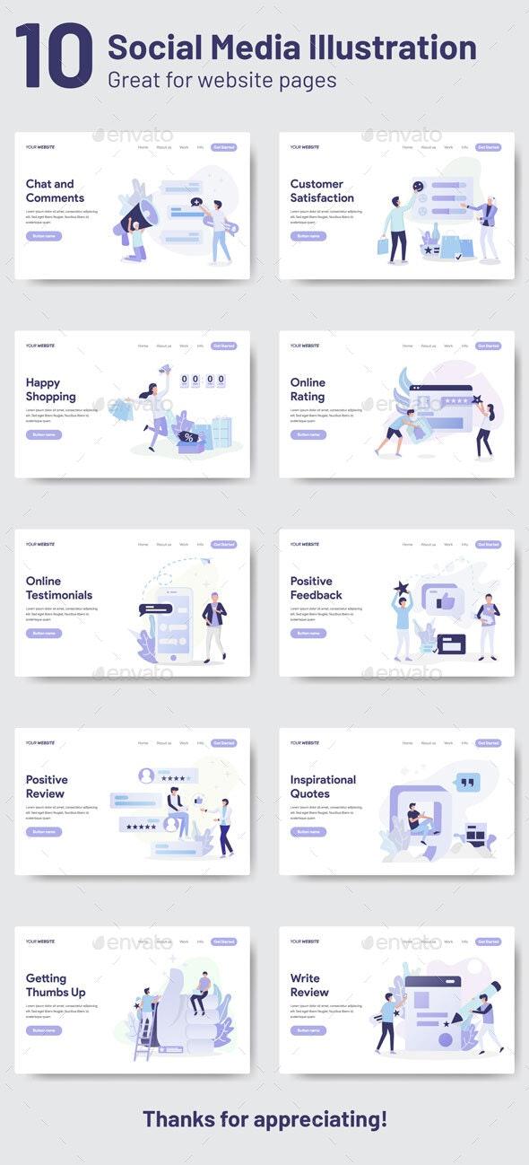 Social Media Illustrations - Web Elements