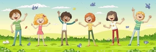 Six Happy Kids - People Characters