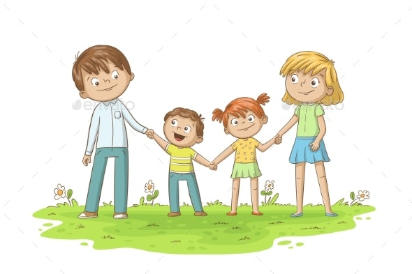 Young Happy Family - People Characters