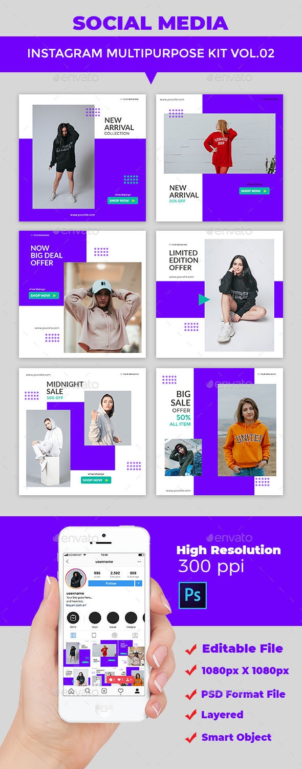 Instagram Post Multipurpose Kit Vol.02 - Social Media Web Elements