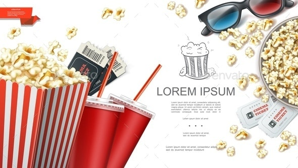 Realistic Cinema Elements Background - Food Objects