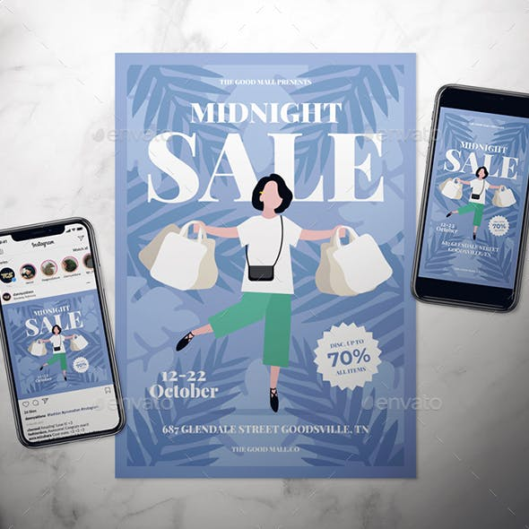 Midnight Sale Flyer Set