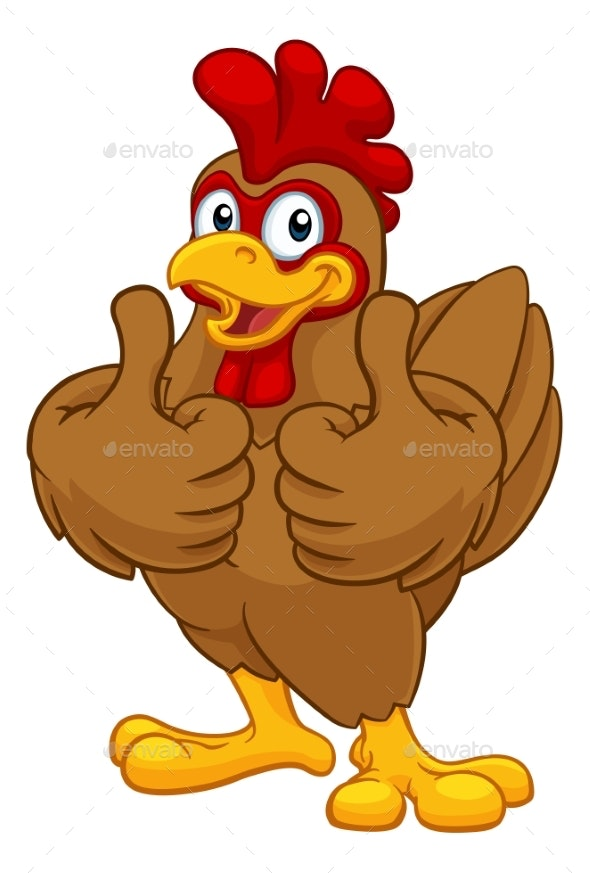 Chicken Cartoon Rooster Cockerel Character - Animals Characters
