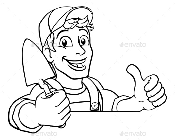 Trowel Construction Site Cartoon Builder Handyman - People Characters