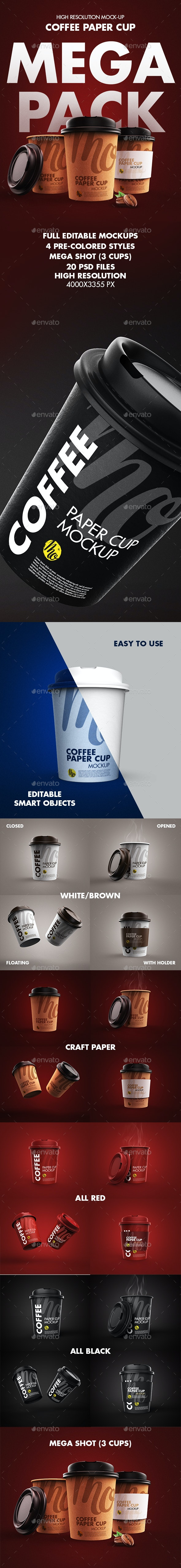 Paper Coffee Cup Mock-up Mega Pack - Product Mock-Ups Graphics