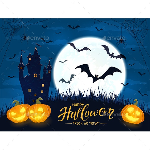 Halloween Pumpkins and Castle with Moon on Blue Background - Halloween Seasons/Holidays