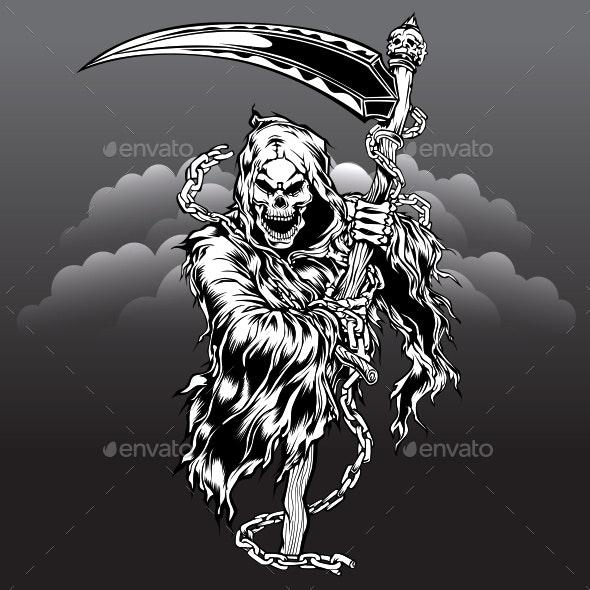 Devil Skull Angel of Death  vector - Monsters Characters