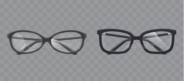Eyeglasses with Shattered Glass Realistic Vector - Man-made Objects Objects