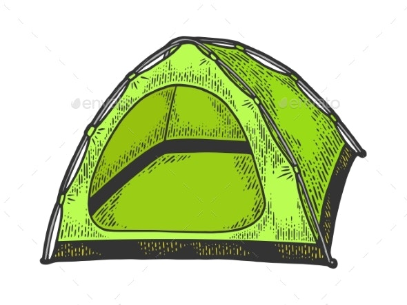 Tourist Tent Color Sketch Vector Illustration - Man-made Objects Objects